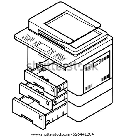 Line Style Drawing Multifunction Office Laser Stock Vector
