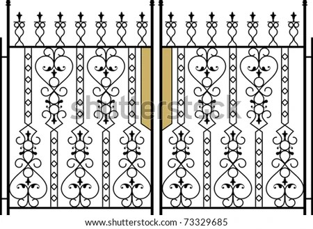 Wrought Iron Gate Door Fence Window Stock Vector 29959594