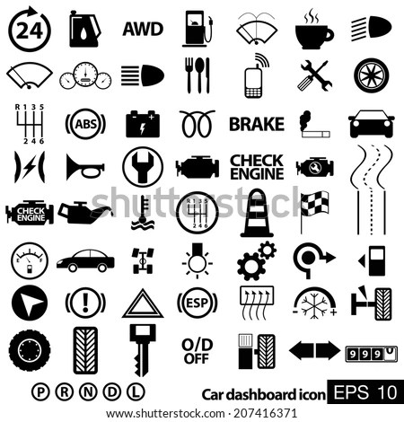 Car Dashboard Icons Stock Vector (Royalty Free) 207416371