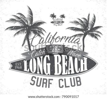 Vintage Surfing Tee Design Retro Tshirt Stock-Vektorgrafik