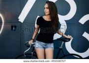 hipster girl long brown hair wearing