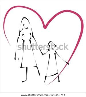 daughter mother simple sketch shutterstock illustration