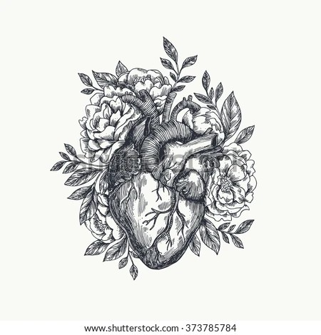 Valentines Day Card Anatomical Heart Flowers Immagine