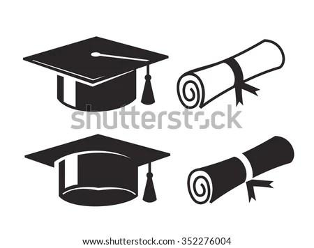 Vector Black Graduation Cap Diploma On Stock Vector