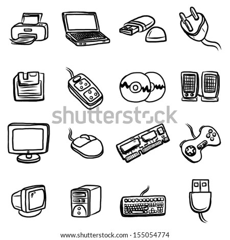 Computer Hardware Objects Icons Set 16 Stock Vector
