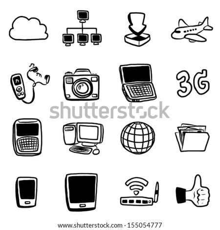 Technology Communication Objects Icons Set 16 Stock Vector