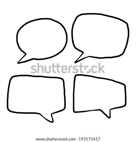 Four Style Speech Bubbles Cartoon Vector Stock Vector