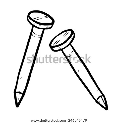 Nail Cartoon Vector Illustration Black White Stock Vector