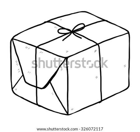 Parcel Box Cartoon Vector Illustration Black Stock Vector