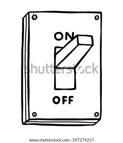 Electric Switch Cartoon Vector Illustration Black Vectores
