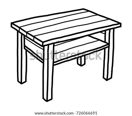 School Desk Cartoon Vector Illustration Black Stock Vector
