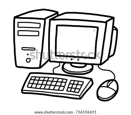 Computer Cartoon Vector Illustration Black White Stock