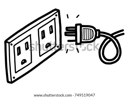 Plug Electric Socket Cartoon Vector Illustration Stock