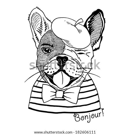 Hand drawn portrait of french bulldog dressed up in french