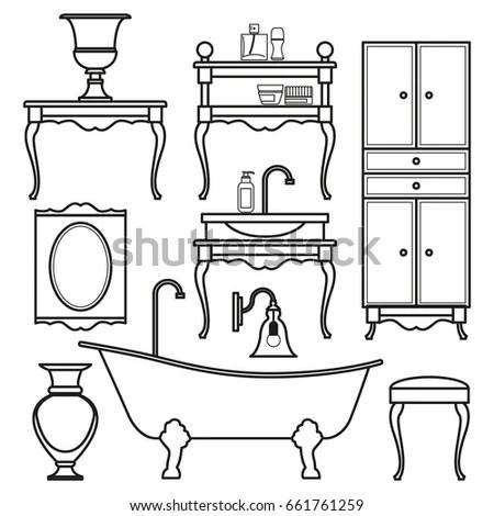 Luxurious Bathroom Bathroom Doodles Vintage Boudoir Stock