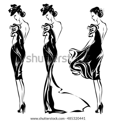 Gentleman Lady Symbols Vintage Style Black Stock