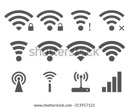 Set Vector Wi Fi Wireless Icons Remote Stock Vector