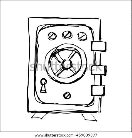 Safe Box Sketch Vector Illustration Business Stock Vector