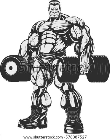 Vector Illustration Bodybuilder Doing Exercise Dumbbells