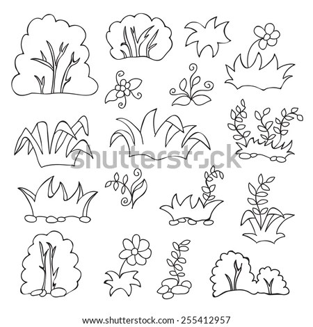 Coloring Book Kids Grass Flowers Cartoon Stock Vector