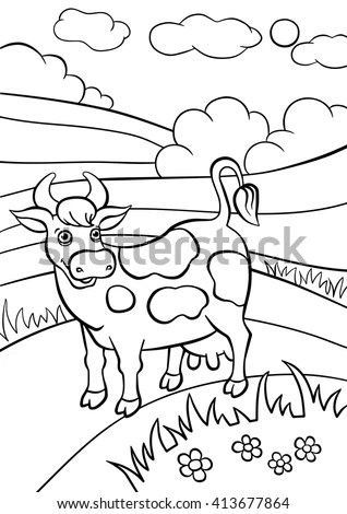 Coloring Pages Animals Cute Cow Stands Stock Vector