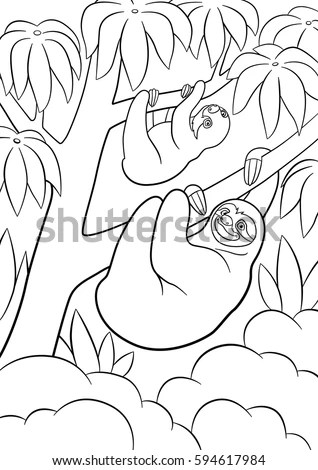 Coloring Pages Mother Sloth Her Little Stock Vector