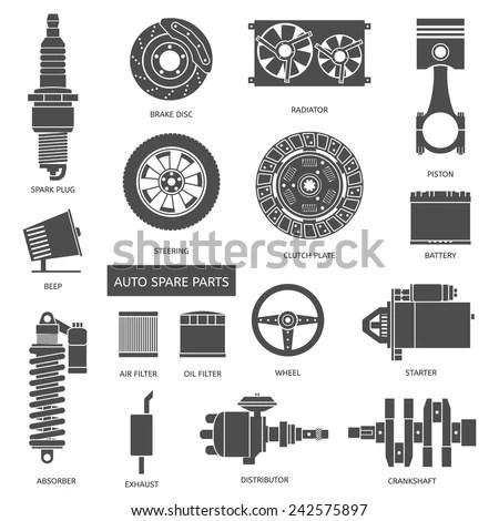 Set Auto Spare Parts Car Repair Stock Vector (Royalty Free