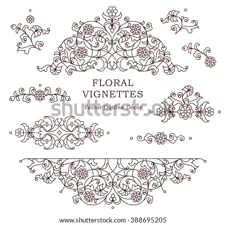 Line Art Floral Stock Images, Royalty