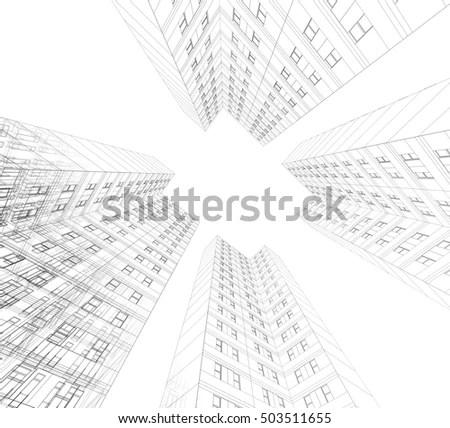 Architectural Sketch Highrise Building Stock Illustration