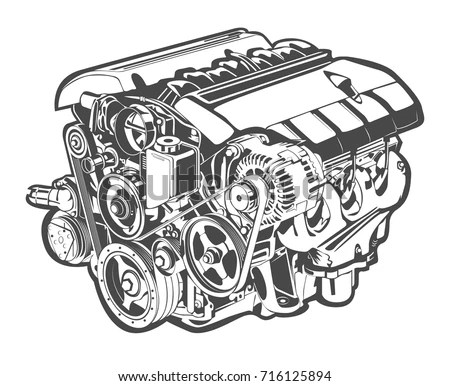 Vector Illustration Abstract Car Engine Stock Vector