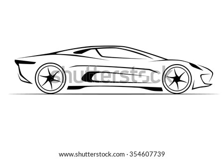 Silhouette Sport Car Racing Sports Stock Vector 100453321