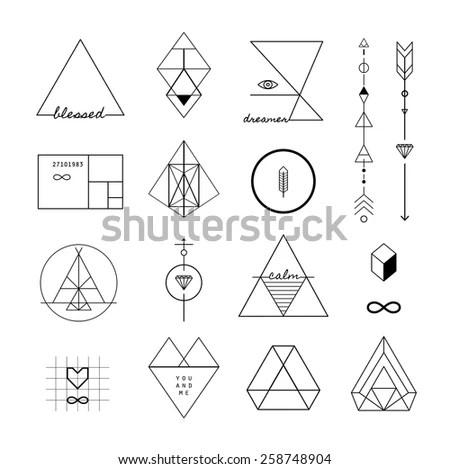 Set Vector Trendy Geometric Icons Logotypes Stock Vector