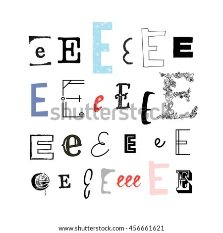 Set Letter E Different Style Collection Stock Vector