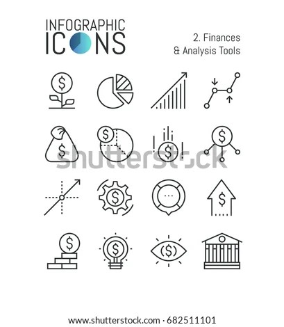 Investment Icon Set Asset Management Stock Vector