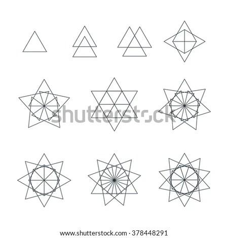 Set Geometric Shapes Triangles Line Design Stock Vector