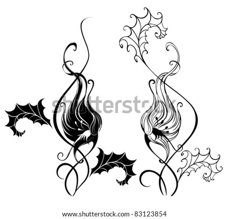 black silhouette of two artistically painted bindweed