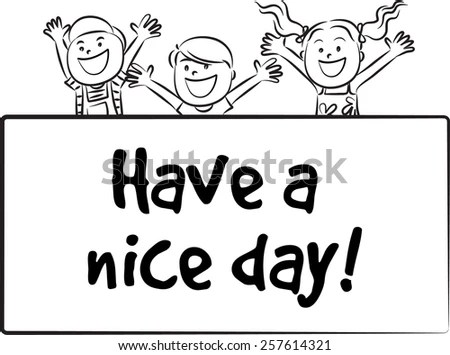 Stick Figures Holding Welcome Sign Stock Vector 348775289