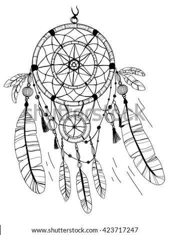 Dreamcatcher Feathers Beads Coloring Page Stock Vector