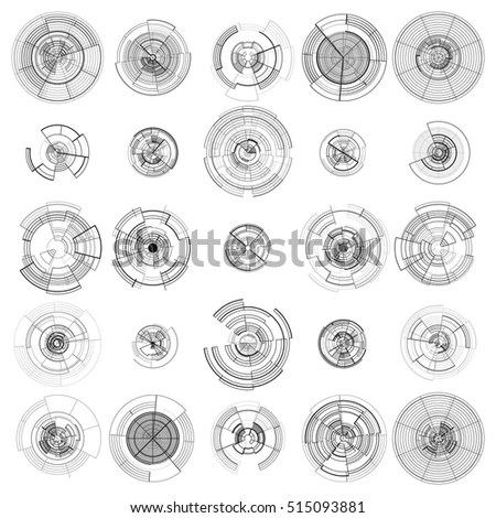 Set Abstract Hud Elements Isolated On Stock Vector