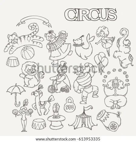 Autumn Handdrawn Doodle Set Cartoon Style Stock Vector