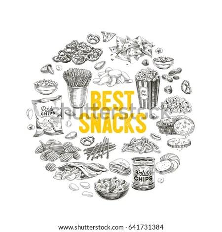 Vector Hand Drawn Snack Junk Food Stock Vector 641731384