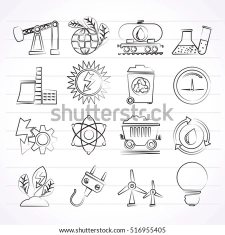 Energy Industry Icons Set Go Green Stock Vector 143252431