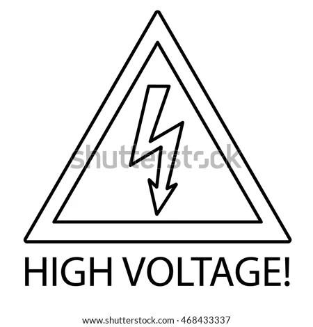 High Voltage Sign Danger Symbol Outline Stock Vector