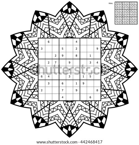 Number Place Answer Antistress Coloring Book Stock Vector