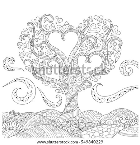 Zendoodle Design Small Hut Forest Abstract Stock Vector