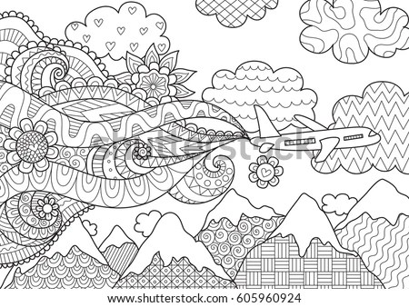 Zendoodle Abstract Airplane Flying Over Beautiful Stock