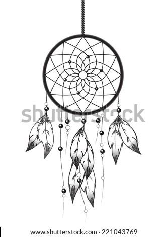 Black White Illustration Dreamcatcher Eps10 Vector Stock