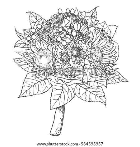 Rich Flower Bouquet Arrangement Bridal Wedding 스톡 벡터