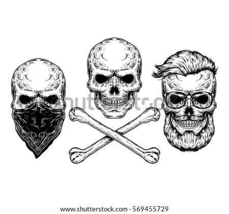 Vector Illustration Skull Crossbones Stock Vector