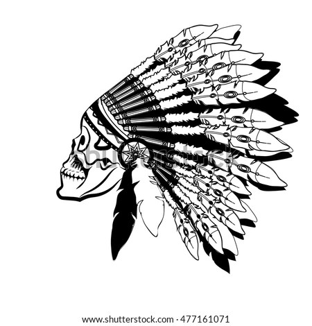 Indian Chief Hand Drawing Style Lager-vektor 318427118